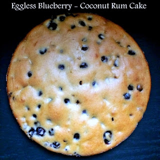Eggless Blueberry - Coconut Rum Cake