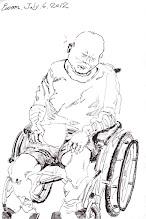 Photo: 我想死2012.07.06鋼筆 阿年妹妹為收容人自殘的雙手和下巴換好藥、做完體檢,在醫生看完診後問他:「還有什麼問題嗎?」 「有…」他有氣無力地說:「我想死…」