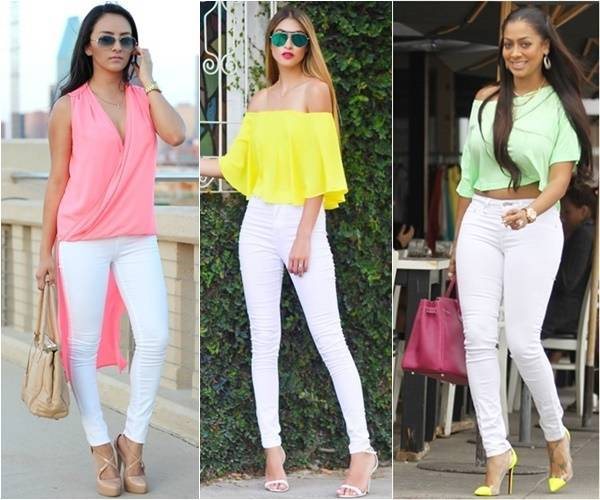 white jeans with neon tops_image