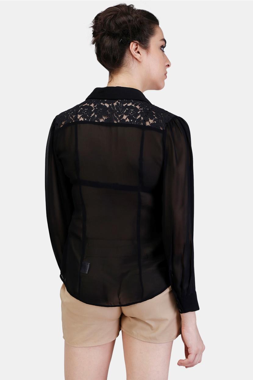 Floral Lace Yoke Shirt -3