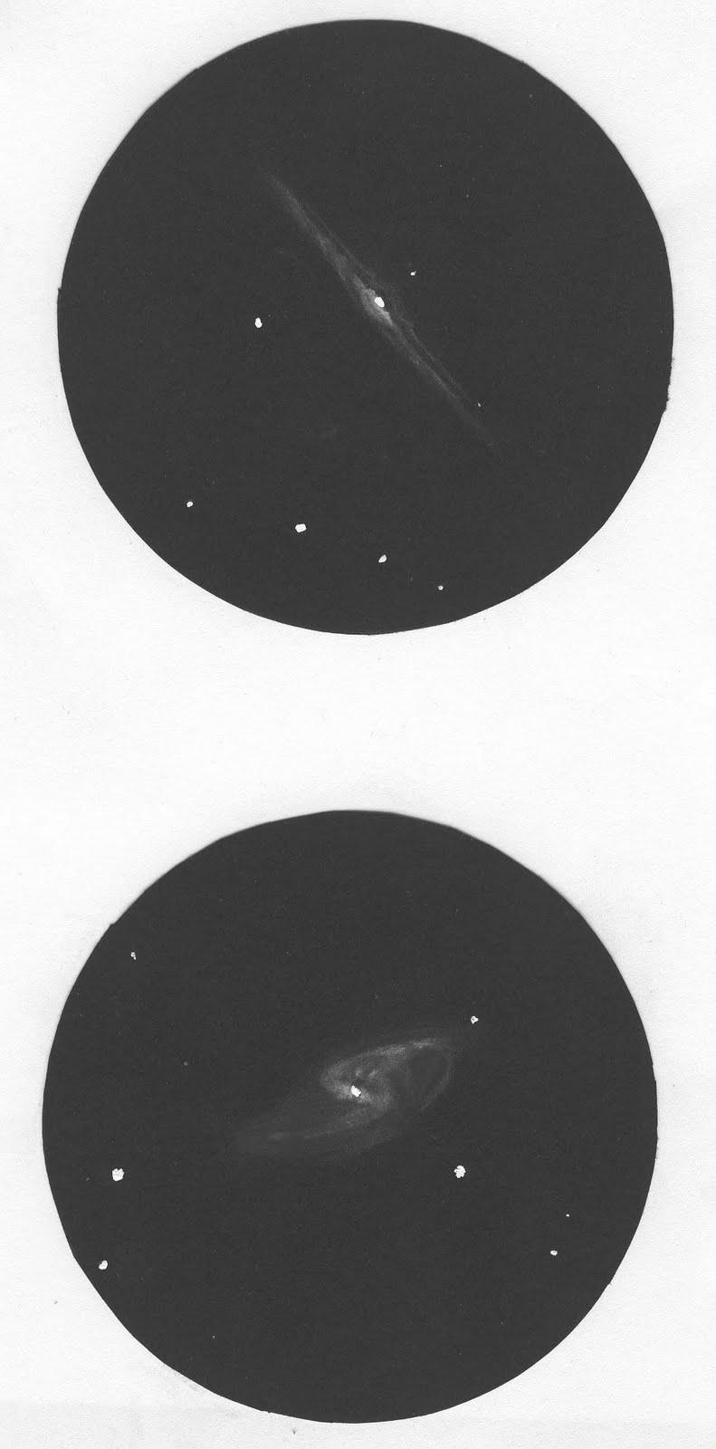 Photo: NGC4565 (en haut) et M106 (en bas) le 6 avril 2007, à 175X.  Vues dans le T406.