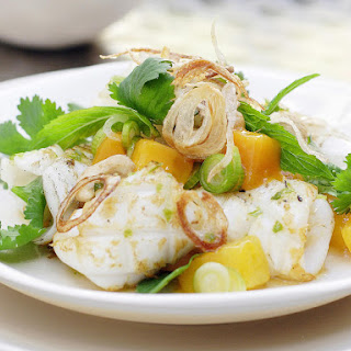 Grilled Calamari, Mango Salad and Crispy Shallots