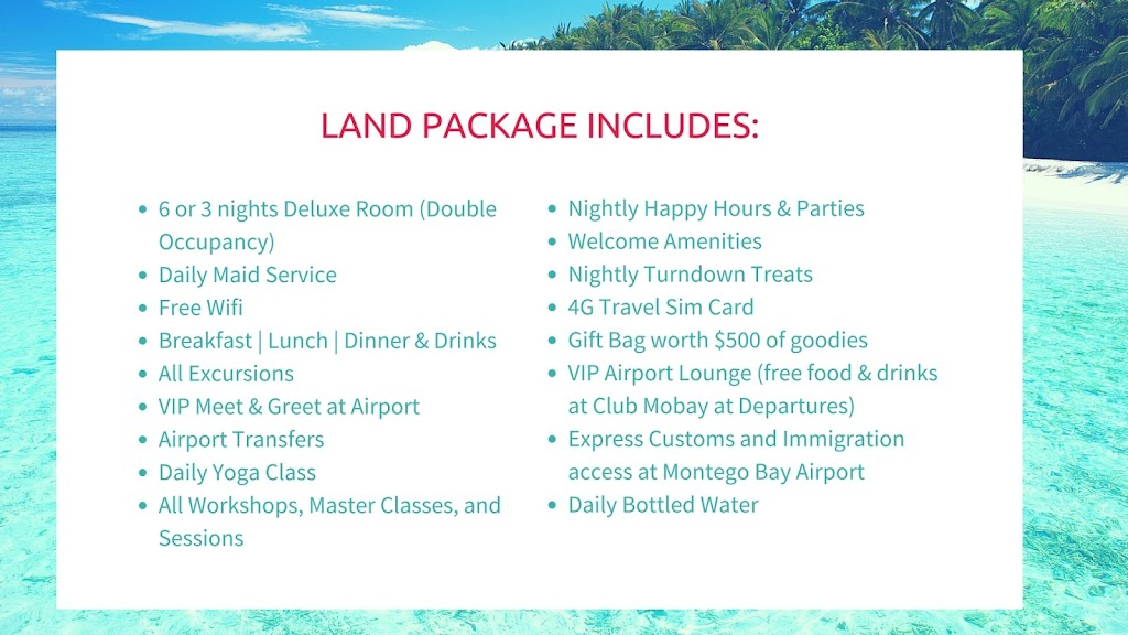 The JOZU THRIVE EXPERIENCE includes all food, beverage and lodging.