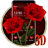 Elegant 3D Red Rose Launcher Theme