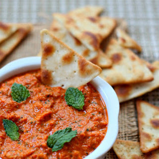 Roasted Red Pepper Dip with Mint.