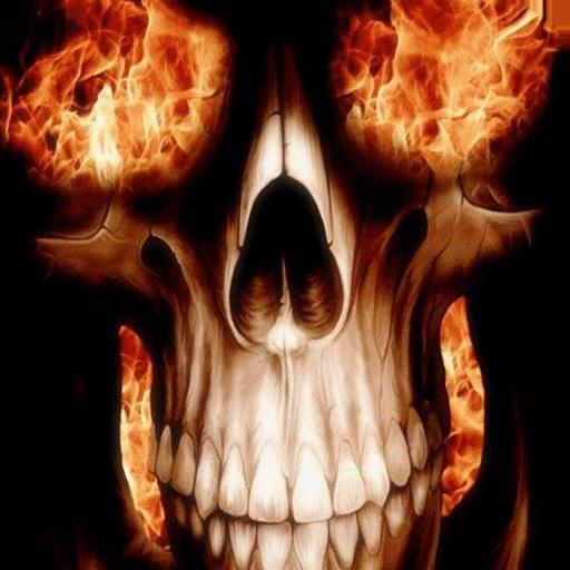 Skull with fiery eyes LWP