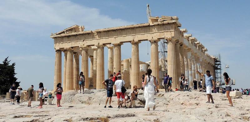 The iconic Parthenon atop the Acropolis in Athens.
