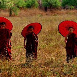 Three Novices  by Aung Kyaw Soe - Babies & Children Children Candids (  )