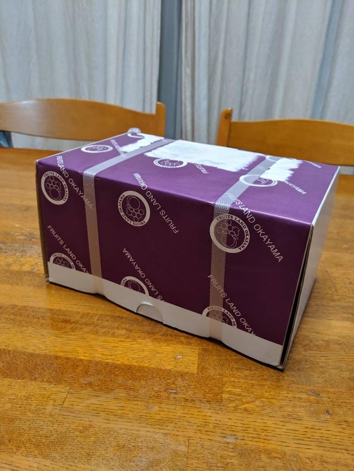岡山市返礼品シャインマスカット未開封の箱の画像