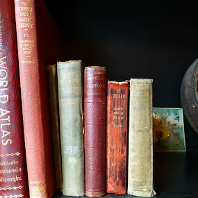 Old Books by Susan Englert - Artistic Objects Antiques ( books, old, binding, antique, clock, shelf, covers,  )