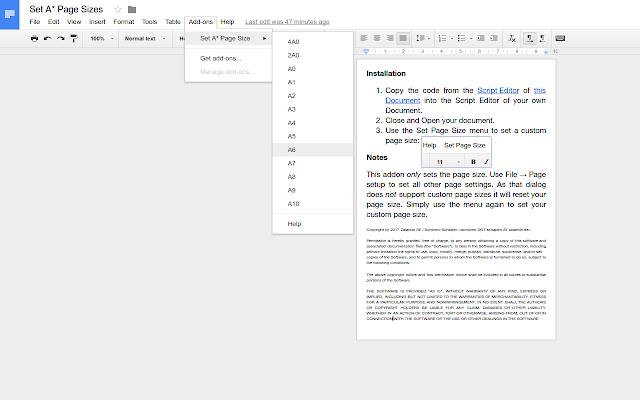 Set A* Page Size - Google Docs add-on