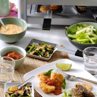 Groene asperges en shiitake met Cocktailsaus