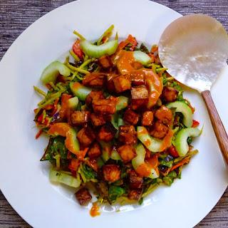 Indonesian Gado Gado Salad with Oven-roasted Tofu.
