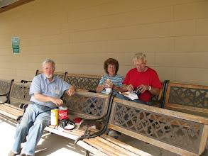 Photo: Pete Guy, Virginia Freitag, and Gil Freitag eating lunch.  2009-0227