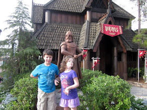 "Photo: We also walked around the world showcase and got lunch in ""Mexico"". Julia was into the Vikings here in ""Norway"""
