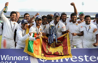 Photo: LEEDS, ENGLAND - JUNE 24:  Sri Lanka celebrate winning the 2nd Investec Test match between England and Sri Lanka at Headingley Cricket Ground on June 24, 2014 in Leeds, England.  (Photo by Gareth Copley/Getty Images)