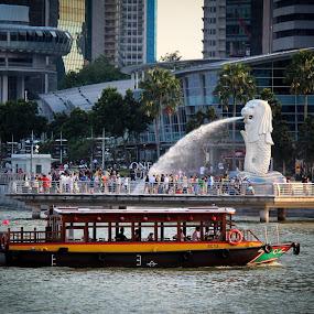 Merlion @ Marina Bay  by Kai Jian - Travel Locations Landmarks ( merlion, tourism, river taxi, singapore, marina bay )