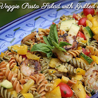 Pesto Veggie Pasta Salad with Grilled Shrimp