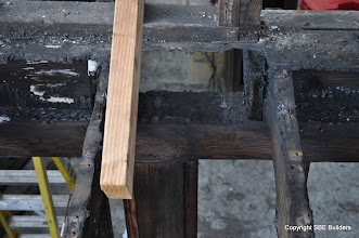 Photo: 6x6 girder with fire damage that needs to be replaced.