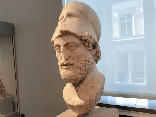 Bust-of-Pericles.jpg - Portrait Bust of Pericles wearing Corinthian helmet, from the island of Lesbos, dates to 430 B.C.