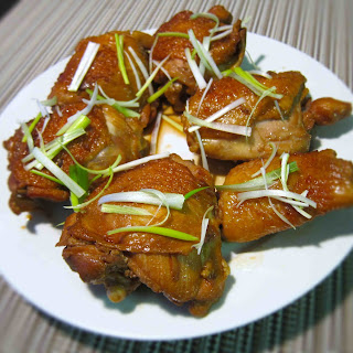 Soy Sauce Chicken Thighs with Chinese Rose Wine.