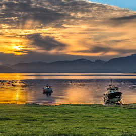 Midnightsun by Jens Andre Mehammer Birkeland - Transportation Boats ( clouds, reflection, grass, green, boats, sea, reflections, boat, sun, sky, sunset, cloud, sunrise,  )