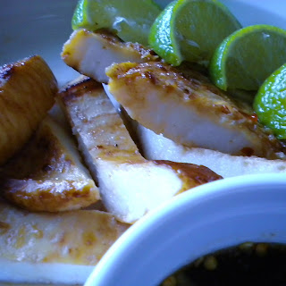 Lime and Sweet Chili Grilled Squid Steaks.
