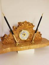 Photo: Maple burl clock & pen set By Arrow Woodcrafts