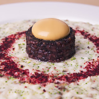 'The centre of the world' – risotto with ginger, shiitake mushroom, daikon and miso sauce