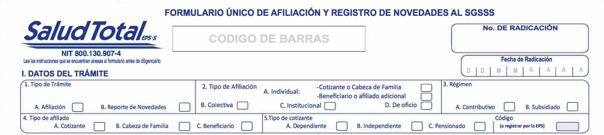 Datos del trámite - formulario único de afiliación salud total