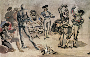 Photo: Richard the Nudist art bombs Manet. I think that one Spanish lady is quite interested in Richard's dance moves. Heheheh- Richard is a dancer/choreographer in real life too!  Available