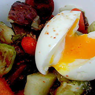 Roasted Veggies & Kielbasa with Soft-Cooked Eggs