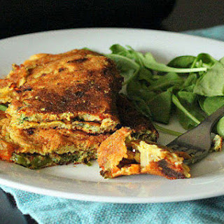 Chickpea Flour Omelette With Spinach, Onion and Bell Peppers