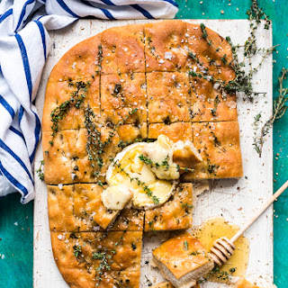 Baked Camembert Focaccia with Honey and Dukkah.