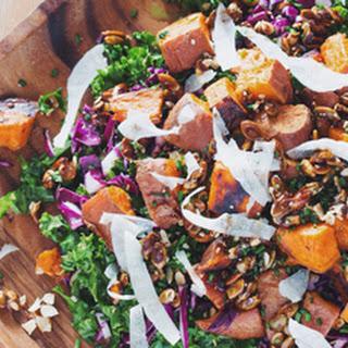 Roasted Sweet Potato Kale Salad with Mustard Dill Vinaigrette Recipe