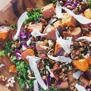 Roasted Sweet Potato Kale Salad with Mustard Dill Vinaigrette.