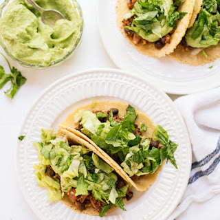 Quinoa Black Bean Tacos with Creamy Avocado Sauce.