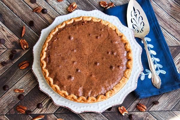 Chocolate Brownie Pecan Pie Ready To Be Sliced.