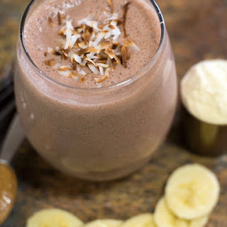 Silk Chocolate Banana Coconut Protein Smoothie.