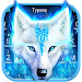 Fire Flaming Blue Ice Wolf Keyboard Theme Icon