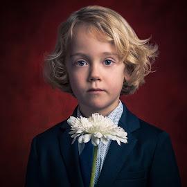 The Flower Boy by Henk  Veldhuizen - Babies & Children Child Portraits ( child, fine art photography, child portrait, boy, flower )