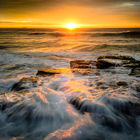 Beach Sunrise by Matthew Wood - Landscapes Waterscapes ( sea, ocean, long exposure, seascape, sunrise, beach, morning, rocks )