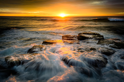 Beach Sunrise by Matthew Wood - Landscapes Waterscapes ( sea, ocean, long exposure, seascape, sunrise, beach, morning, rocks )