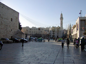 Photo: In the late afternoon, we changed cars and guides (who had the proper credentials) to enable a visit to Bethlehem.  Since Bethlehem is in the West Bank and sometimes the source of trouble, one never knows until the last minute whether a trip will be possible.  This is a view of Manger Square upon our arrival in Bethlehem.