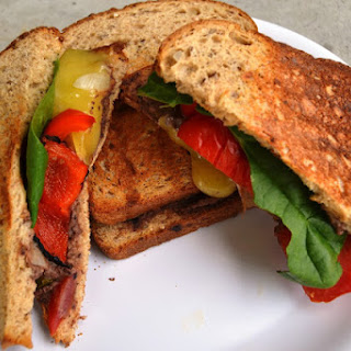 Grilled Vegetable Sandwich with Black Bean Hummus.