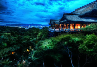 Photo: The Treetop Temple Protects Kyoto  Photographed here is the Kiyomizu-dera temple in Kyoto. The city is known for its traditional Japanese architecture, slower-paced life, natural beauty, graceful geishas, and zen peacefulness. I probably could have stayed in Kyoto capturing scenes the entire trip. I remained here until the sky turned black, and then I headed back down some winding streets to find an old small restaurant where the food was mysterious and every course was served with a gentle bow.  from Trey Ratcliff at www.stuckincustoms.com