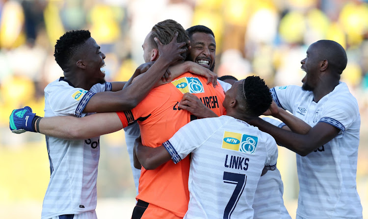 Cape Town City players celebrate after winning the 2018 MTN8 title.