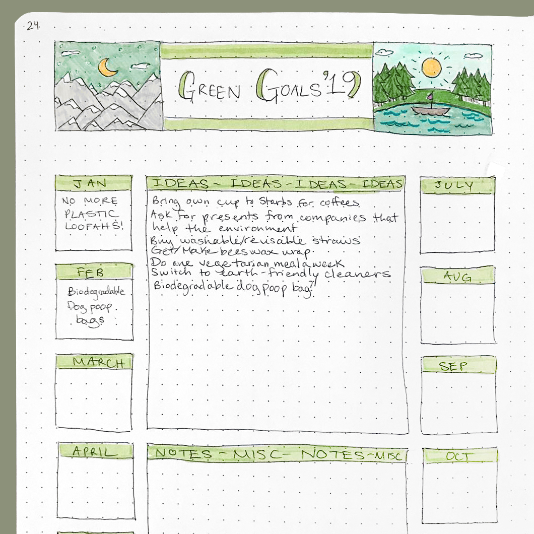 Green Goals Dotted Page Layout