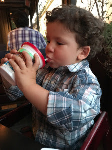 Toddler boy drinking from straw cup