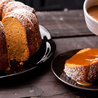 Pumpkin Spice Bundt Cake with Salted Caramel Sauce